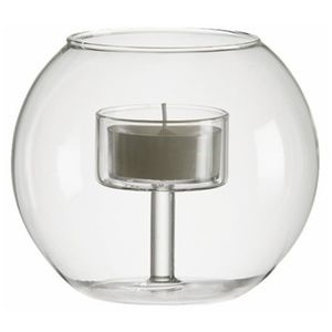 "4""H Contemporary Glass Bowl Tealight Candle Holder"